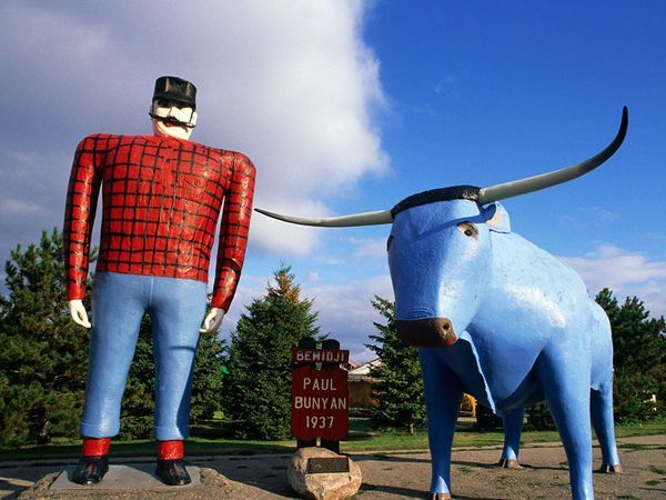 Probably the most laughed at landmark in MN would be Babe the blue ox and Paul Bunyun in Bemidji (Buh midge ee), MN