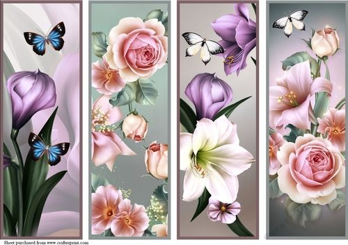 Floral Bookmarks 6 by Chris Harland A set of matching bookmarks with floral theme.: A set of matching bookmarks with floral theme.