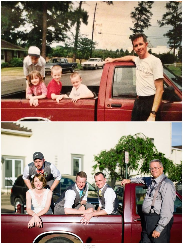 Bride recreates family photo on wedding day