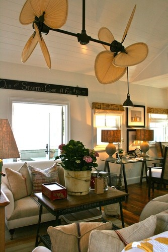 Cool Ceiling Fans With Lights : Beach Style Family Room With The Palisade Double  Ceiling Fan Adds To The British Colonial Flair Of This