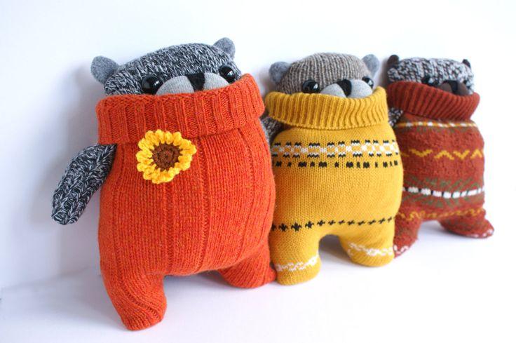 cutest things ever!  Little SockBear, Burnt Orange sweater. $25.00, via Etsy.