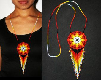 Native American Beaded Necklace Eclipse by BiuluArtisanBoutique
