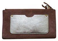 Margot Suede Leather Wallet Dark Tan Suede Metallic Gold/Mink Clutch