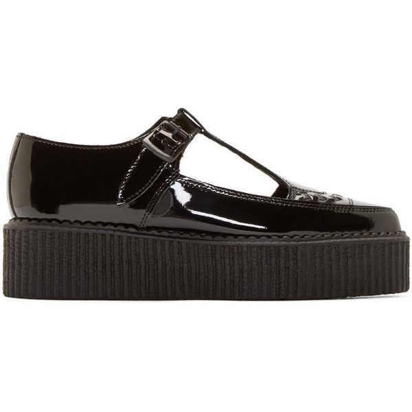 Underground Black Patent Leather T-Strap Creepers ($120) ❤ liked on Polyvore featuring shoes, underground shoes, underground creeper, platform shoes, kohl shoes and black platform shoes
