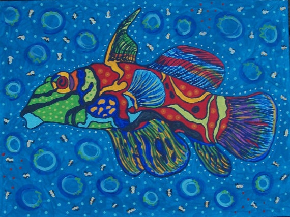 Mandarin Fish Print 12x16 archival paper from original by ClayFish, $35.00