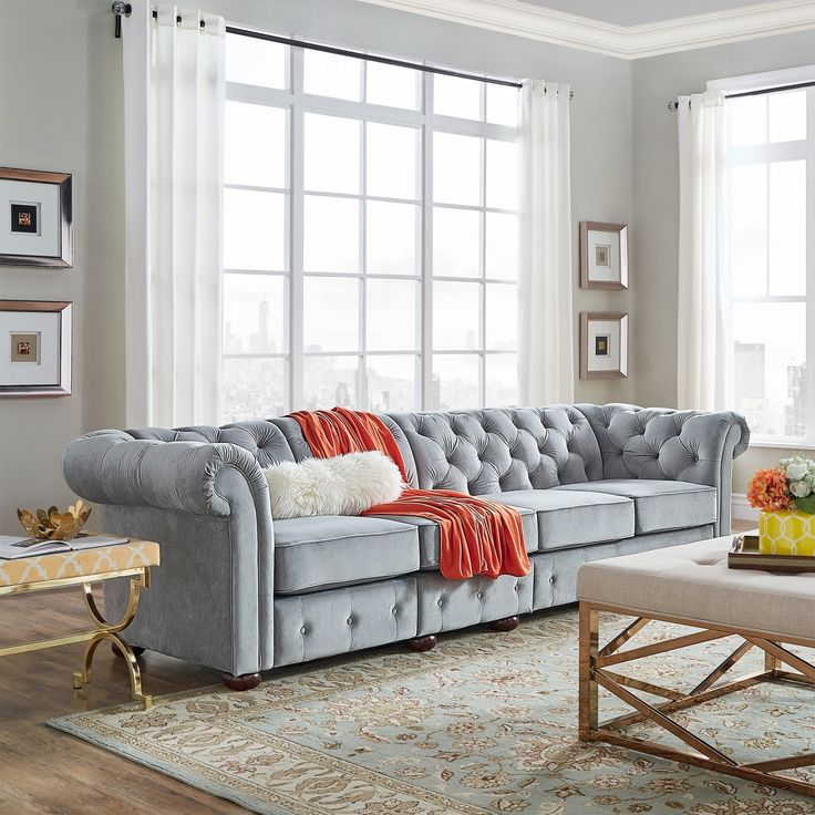 Knightsbridge Grey Linen Oversize Extra Long Tufted Chesterfield Modular  Sofa By INSPIRE Q Artisan ( Part 93
