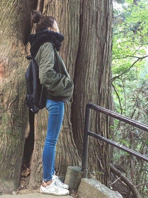 今日は高尾山に行ってきました!! 寒くてモフモフスヌード大活躍でした♡ moussyのvintag