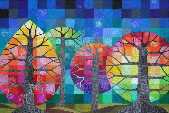 LARGE Backyard with Fireflies I art print, rainbow geometric trees with handpainted details