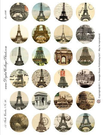 Instant Download 1.5 Inch Circles Eiffel by DigitalCollageSheets, $3.95