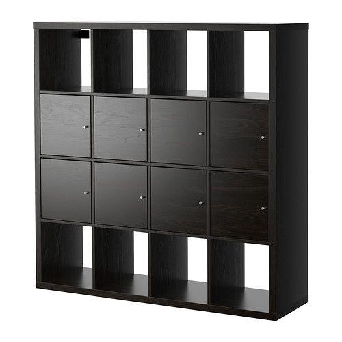 KALLAX Shelf unit with 8 inserts - black-brown, 147x147 cm - IKEA