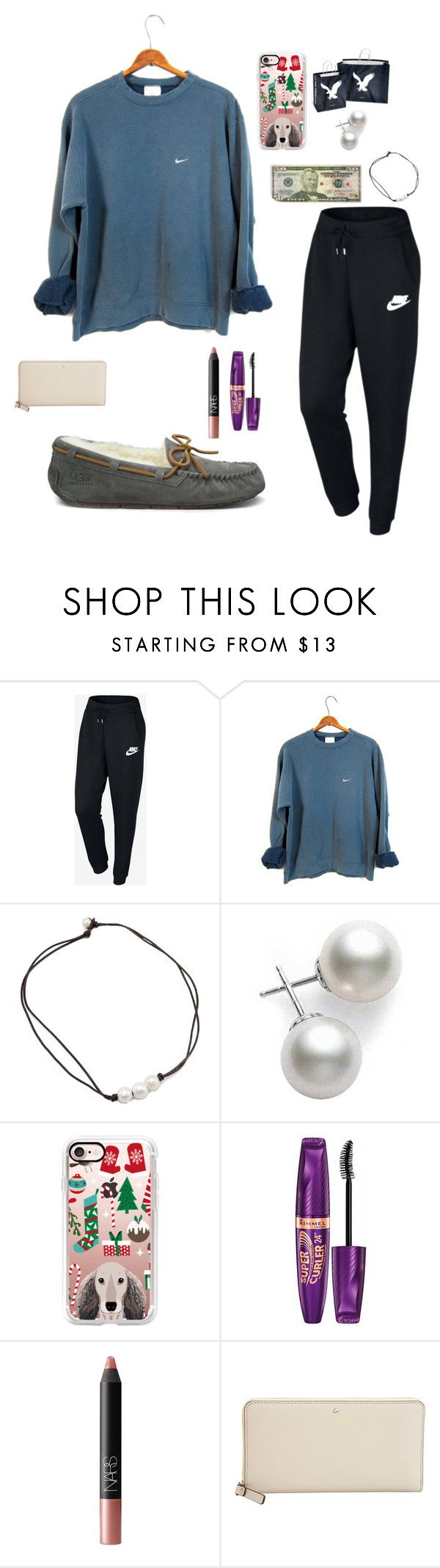 Black Friday Shopping // Friends Outfit by mae343 ❤ liked on Polyvore featuring NIKE, Mikimoto, Casetify, American Eagle Outfitters, Rimmel, NARS Cosmetics, Kate Spade, UGG and TheHolidayswithLauren