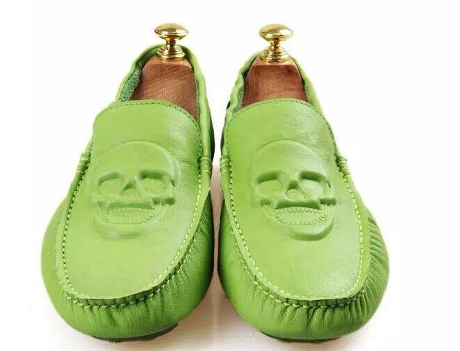 Men's Flat Skull Shoes Genuine Leather Moccasins Loafers //Price: $83.69 & FREE Shipping //     #skull #skullinspiration #skullobsession #skulls