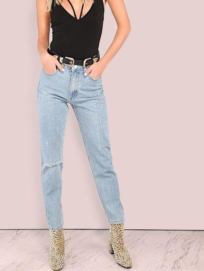 Lightly Distressed Light Washed Mom Jeans DENIM