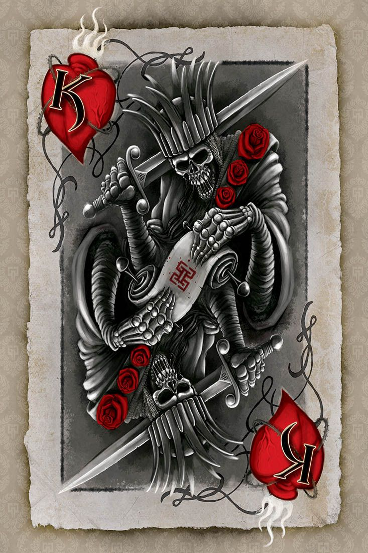 King of hearts card tattoo google search tattoos for Card tattoo designs
