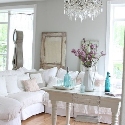 Beach theme design ideas pictures remodel and decor for Modern shabby chic living room ideas
