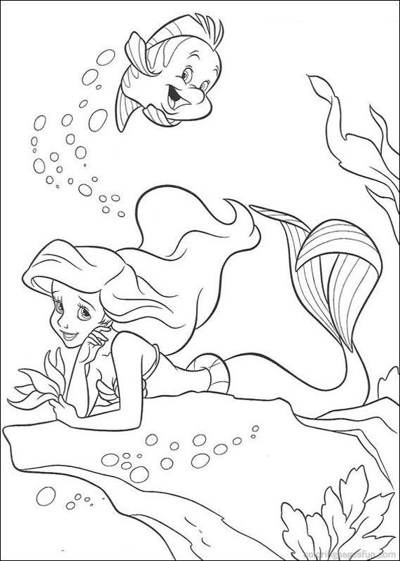 Ariel The Little Mermaid Colouring Pages