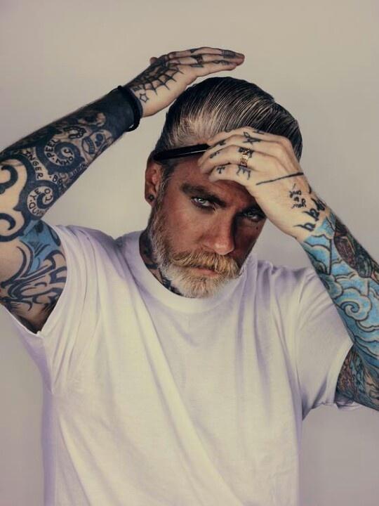 Tattooed gentleman tattoos pinterest gentleman hair for Silver fox tattoo
