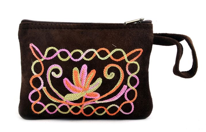 Handmade Leather Embroidery Pouch Coffee in small size. Useful  for womens girls  carry money ,cards and coins etc. spacious and light weight pouch with zip closer. #Buyhandbagsonline #HandmadeHandbags #Authenticdesignerhandbags #Womenswallets #Pursesonline #Handmadeitems #Styleincraft