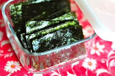 Homemade seaweed snacks.  Seaweed is a super healthy food we'd like to try.  An easy recipe for kids.
