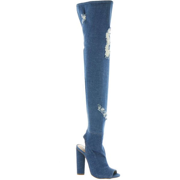 Steve Madden Tonic Women's Blue Boot 6 M ($130) ❤ liked on Polyvore featuring shoes, boots, blue, over-the-knee boots, over-the-knee high-heel boots, over the knee high heel boots, denim boots, side zip boots and blue thigh high boots
