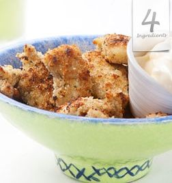 TOO EASY CHICKEN NUGGETS  Serves 2.  2 chicken breasts, cut into bite-size pieces  1 cup(120g) breadcrumbs  1cup (125g) mayonnaise  1 tbsp. butter, melted  Preheat oven to 375F/180C. Coat chicken with mayonnaise and roll in breadcrumbs.Lay on a baking paper lined baking tray. Drizzle with a little butter and bake for 20 minutes.These are requested at least twice a week and gobbled up every single time ... TRY THEM!