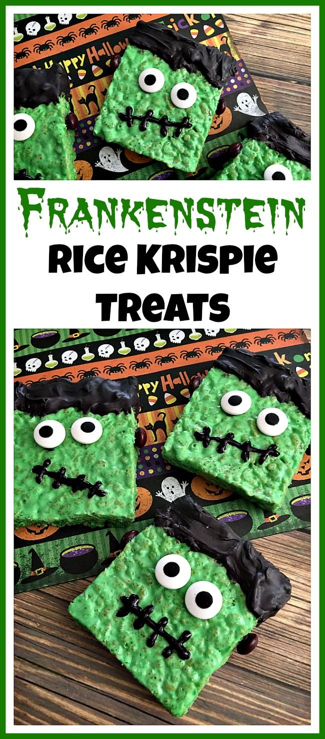 What a fun treat to make! These Frankenstein Rice Krispie Treats are easy and delicious Halloween party desserts! They're also fun treats to make with kids! #halloweentreat #ricekrispietreats