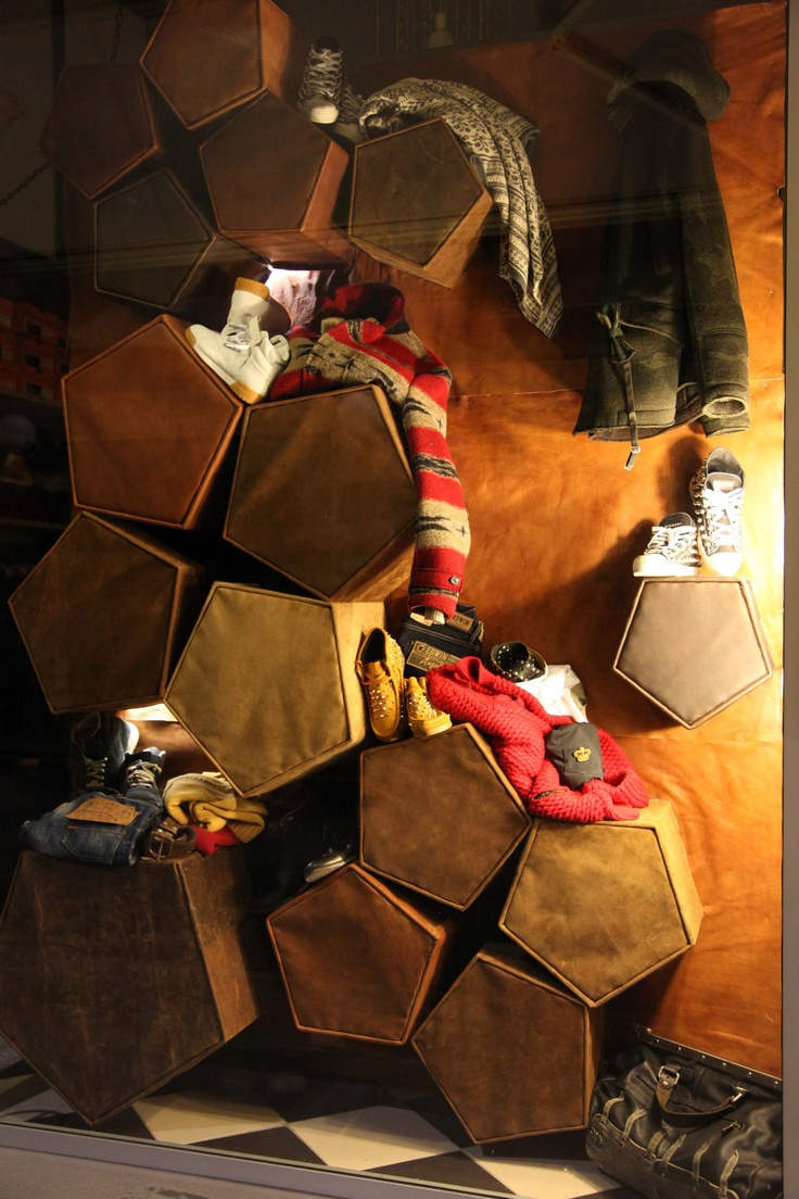 The Gallery FW13 window.    Leather and wood.
