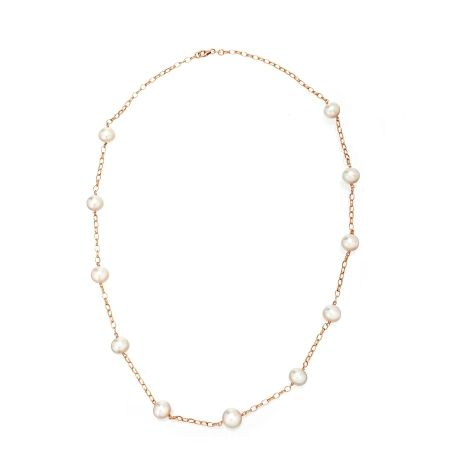 Matahina White 10mm SSea Pearl Chain Necklace 9kt RG