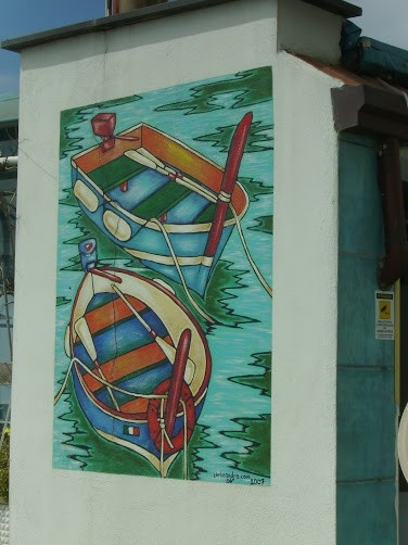 Painting on a building in Furore, Italy