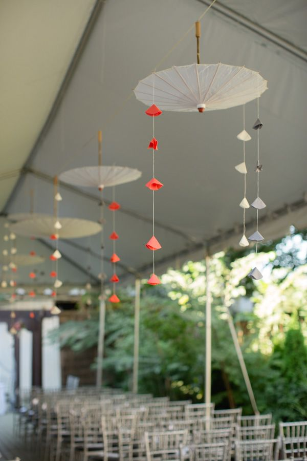 Unique use of paper umbrellas to liven up the interior or a tent. #parasol…