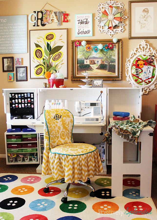 Bright and eclectic craft room filled with little inspirations.Sewing Room, Creative Spaces, Splendid Crafts, Positive Splendid, Crafts Room, Eclectic Crafts, Room Ideas, Room Filling, Craft Rooms