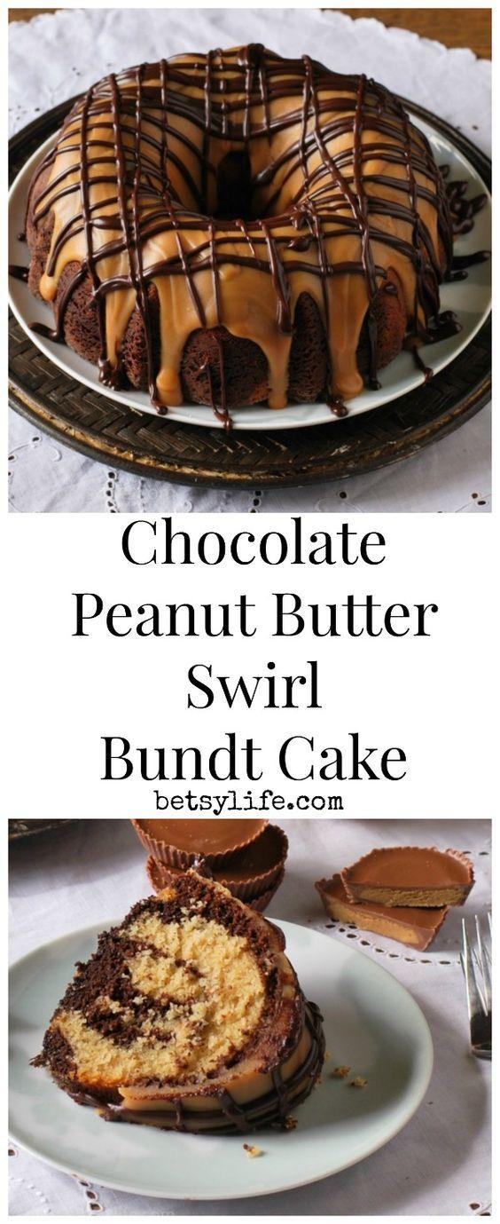 Chocolate Peanut Butter Swirl Bundt Cake