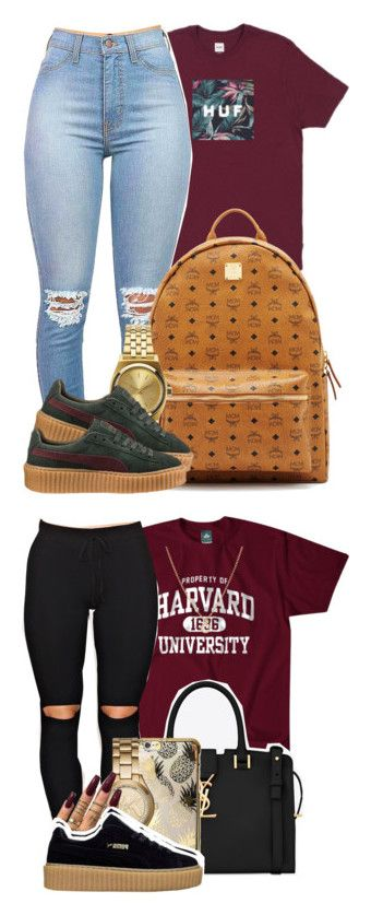 """""""Yas Suh!"""" by mindlesspolyvore ❤ liked on Polyvore featuring MCM, Nixon, Puma, Finn, Yves Saint Laurent, Skinnydip and Michael Kors"""