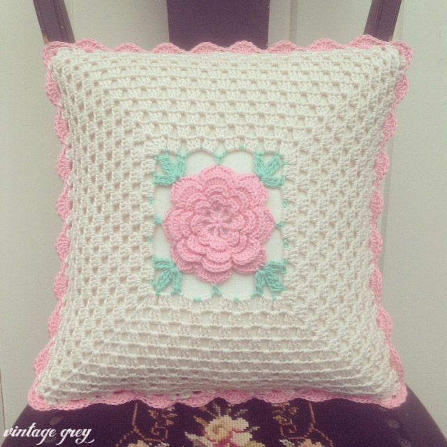 @ vintage grey: a pretty vintage rose cushion