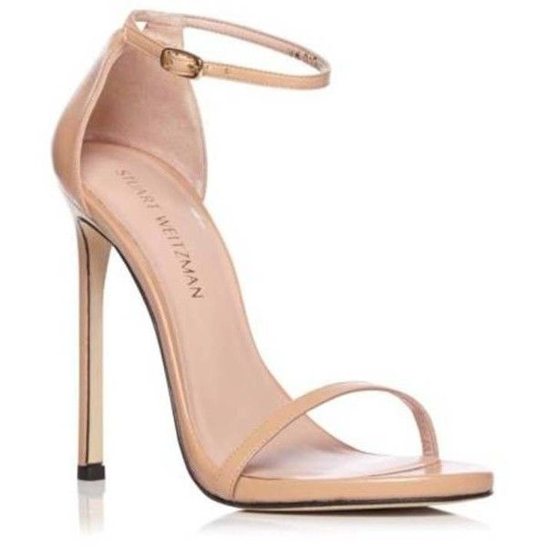 Stuart Weitzman Bambina 'Nudist' Sandal (7,075 MXN) ❤ liked on Polyvore featuring shoes, sandals, heels, stuart weitzman sandals, stiletto heel sandals, nude heeled sandals, gold colored sandals and stiletto sandals