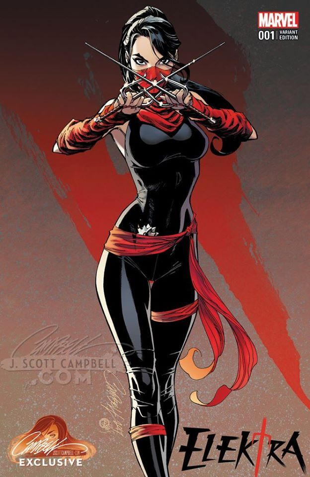 Elektra #1 variant cover by J. Scott Campbell *