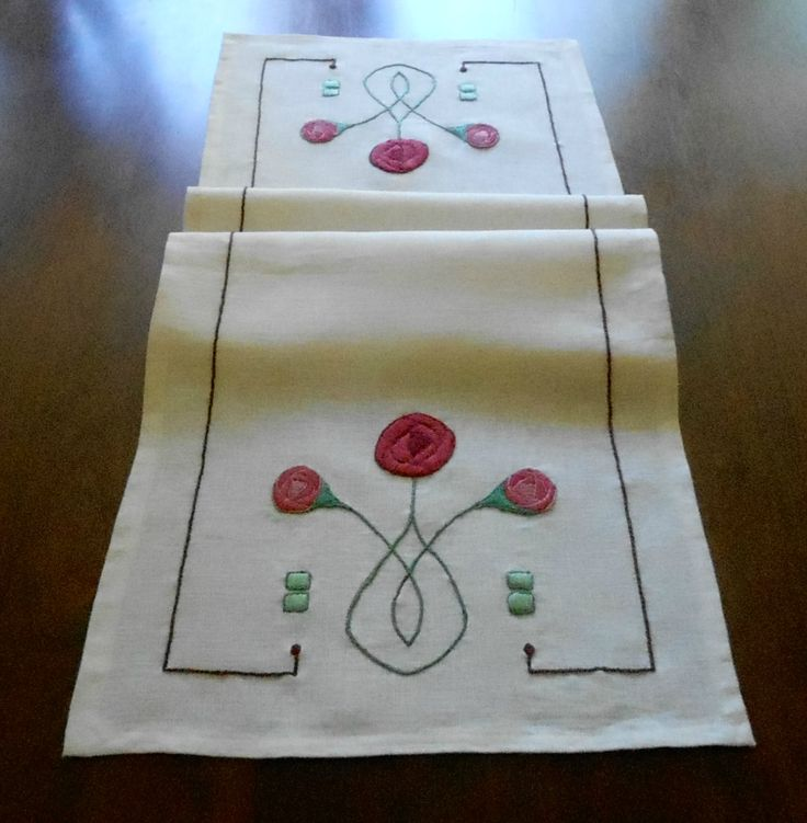 Hand Embroidery, Rose Table Runner With Outline Folded. Arts & Crafts Stitches, Craftsman Style, Textiles, Mission Style, Arts & Crafts Style, Made to Order, Various sizes, Various color fabrics/