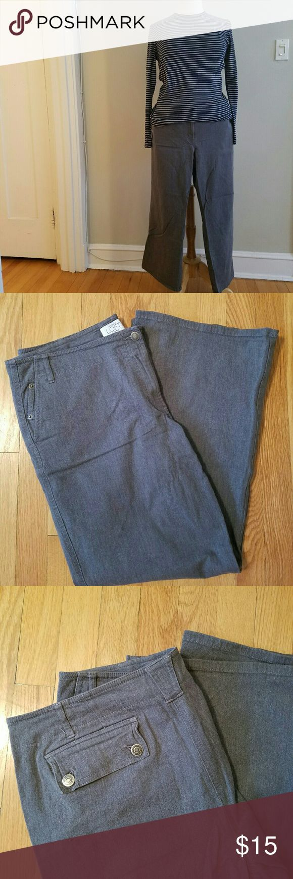 """Anne Taylor Loft Gray Jeans Anne Taylor Loft wide-leg gray jeans with short (27"""" inseam). Great for casual days! Cute button pockets on back.   Pre-worn,  pet/smoke free home. Anne Taylor Loft Jeans Flare & Wide Leg"""