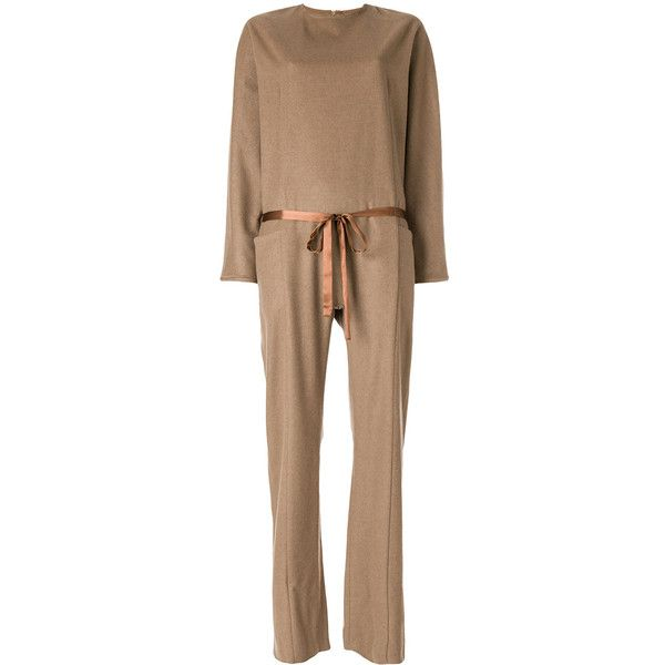 Maison Flaneur ribbon detail jumpsuit ($565) ❤ liked on Polyvore featuring jumpsuits, brown, beige jumpsuit, jump suit and brown jumpsuit