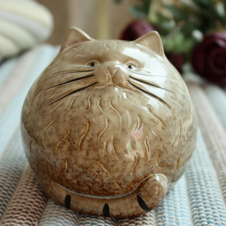 Oak Park Mall-day cat ceramic cat money box large face craft decoration home decoration_1