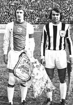Johan Cruyff with Giorgos Koudas in a 1973 friendly game. Paok fc hosted Ajax in Thessaloniki.