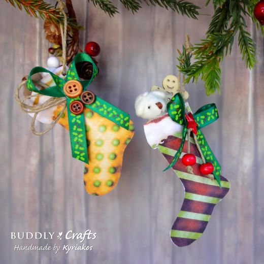 Download and print our Christmas Stockings ClipArt to make the cutest paper stockings for tiny teddy bear gift tags and tree decorations.