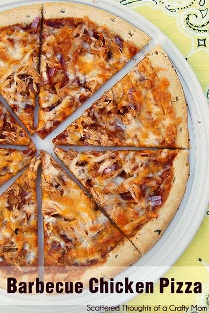 Scattered Thoughts of a Crafty Mom: Barbecue Chicken PizzaBarbeque Chicken Pizza, Scattered Thoughts, Crafty Mom, Recipe, Barbecues Sauces, Bbq Chicken, Barbecues Chicken Pizza,  Pizza Pies, Barbecue Chicken Pizza