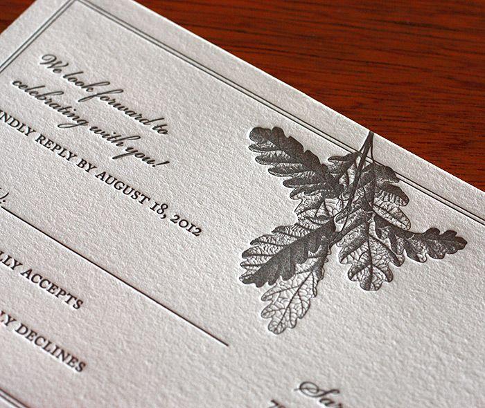 Elegant oak leaf featured on the rsvp postcard of our Oak letterpress invitation design.  | Invitations by Ajalon | http://invitationsbyajalon.com/
