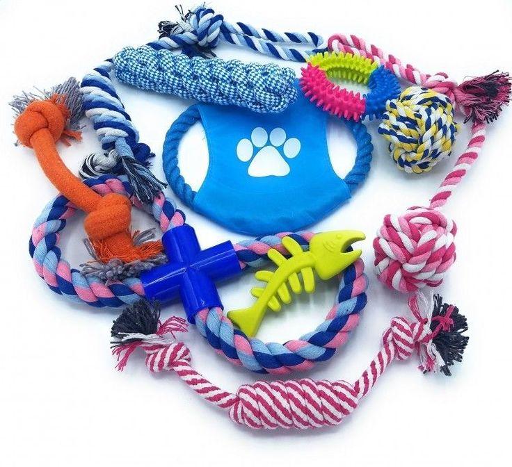 10 Dog Toys Rope Tug Toy Top Dental Teaser Rope Teeth Cleaning Small Medium Dogs #worldwidemark3tDogtoys