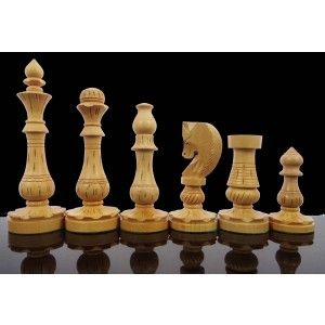 Royal 32 Chess Pieces Shesham/ Boxwood Game Craft Art Brown & White Set India