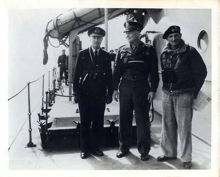 1944- Admiral Ramsey, General Eisenhower and General Montgomery aboard the HMS Apollo, off the Normandy beaches on D-Day.