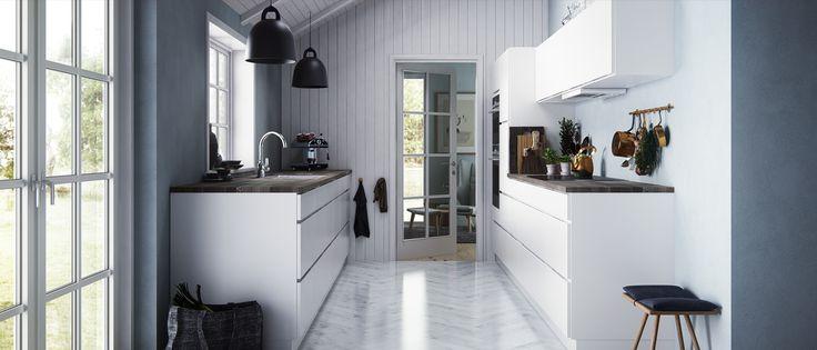 Få naturen inn på kjøkkenet med Kviks Mano-kjøkken. Kombiner ditt Mano-kjøkken med en rustikk trebenkeplate og få en kul nordisk stil. Se de mange mulighetene…