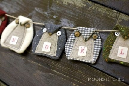 owl pennants. love the fabrics together and button eyes. get pattern by clicking on the website for this image.