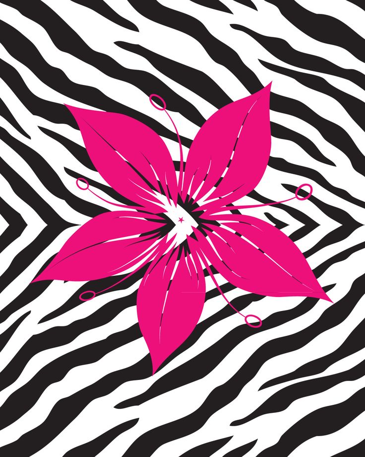 Secretly Designed Flower With Zebra Print Wall Decal